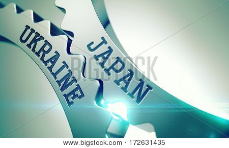 Inscription Japan Ukraine on the Metallic Cog Gears - Communication Concept. Japan Ukraine on the Metal Cog Gears, Communication Illustration with Glowing Light Effect. 3D.