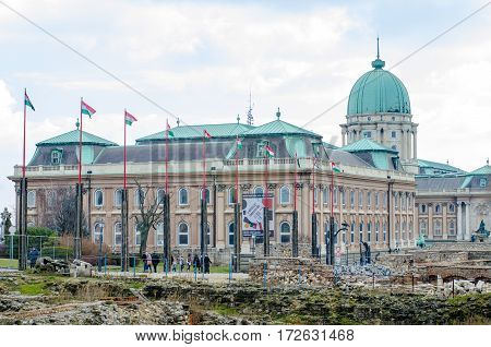 BUDAPEST, HUNGARY - FEBRUARY 20, 2016: Buda Castle is the historical castle and palace complex of the Hungarian kings in Budapest. In the past, it has been called Royal Palace and Royal Castle.