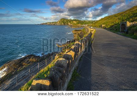 Walking trail around the hill with a magnificent view of the sea. Windy corner. Capstone Hill. North Devon coast. Ilfracombe. UK