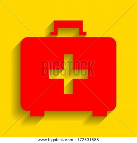 Medical First aid box sign. Vector. Red icon with soft shadow on golden background.
