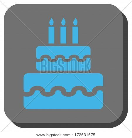 Birthday Cake rounded button. Vector pictograph style is a flat symbol centered in a rounded square button light blue and gray colors.
