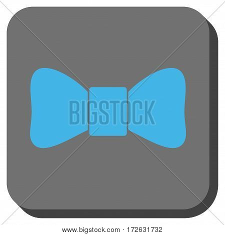 Bow Tie rounded icon. Vector pictogram style is a flat symbol centered in a rounded square button light blue and gray colors.