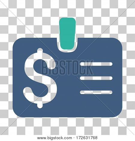 Dollar Badge icon. Vector illustration style is flat iconic bicolor symbol cobalt and cyan colors transparent background. Designed for web and software interfaces.