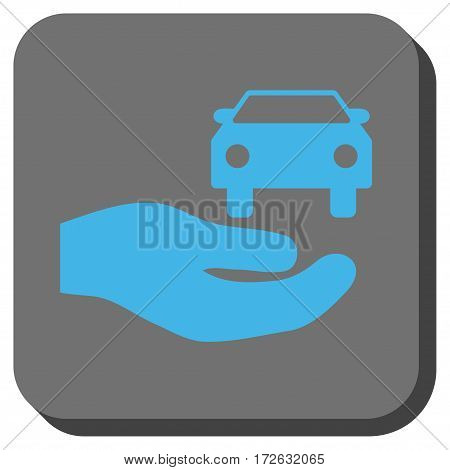 Car Gift Hand square button. Vector pictograph style is a flat symbol on a rounded square button light blue and gray colors.