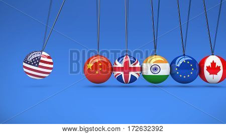 International relationships and global economy consequences concept with a cradle and flags on spheres 3d illustration.