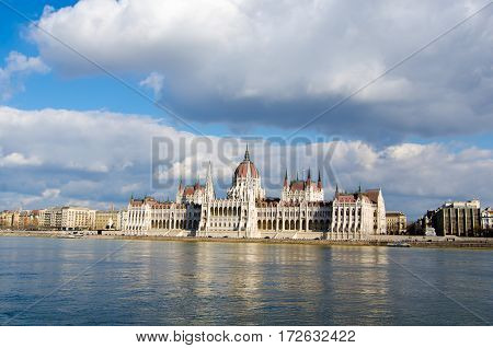 BUDAPEST, HUNGARY - FEBRUARY 20, 2016: Parliament building in Budapest, Hungary. The most famous landmark of the city.