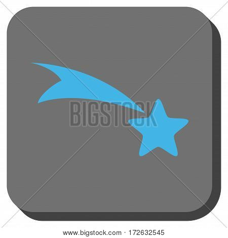 Falling Star interface toolbar icon. Vector pictograph style is a flat symbol centered in a rounded square button light blue and gray colors.