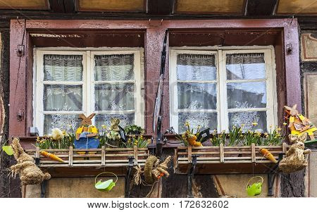 ColmarFrance- April 23rd 2011: The window of a traditional half-timbered house is specifically decorated for Easter in Colmarin Alsace France.