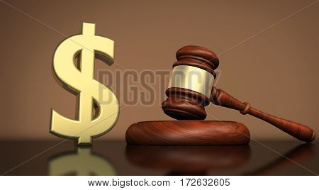 Law lawyer and dollar icon and symbol cost of justice concept 3D illustration.