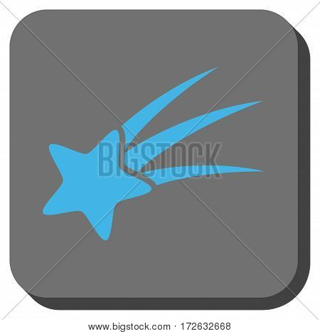 Falling Star toolbar icon. Vector pictograph style is a flat symbol on a rounded square button light blue and gray colors.