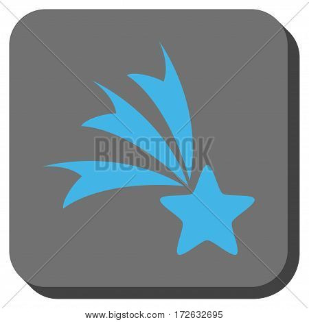 Falling Star interface toolbar icon. Vector pictograph style is a flat symbol on a rounded square button light blue and gray colors.