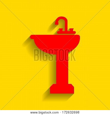 Bathroom sink sign. Vector. Red icon with soft shadow on golden background.