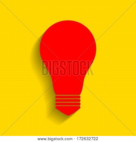 Light lamp sign. Vector. Red icon with soft shadow on golden background.