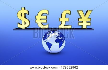 Global world economy concept with balance between international currencies icons 3d illustration.