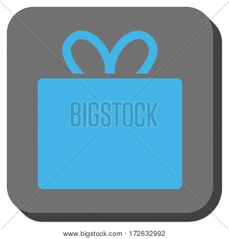 Gift interface icon. Vector pictograph style is a flat symbol in a rounded square button light blue and gray colors.