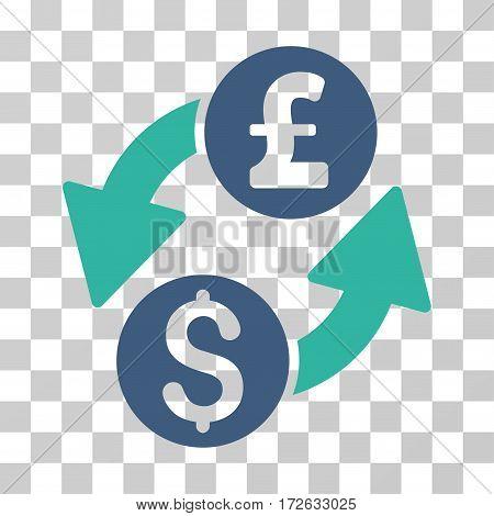 Dollar Pound Exchange icon. Vector illustration style is flat iconic bicolor symbol cobalt and cyan colors transparent background. Designed for web and software interfaces.