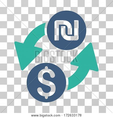 Dollar Shekel Exchange icon. Vector illustration style is flat iconic bicolor symbol cobalt and cyan colors transparent background. Designed for web and software interfaces.