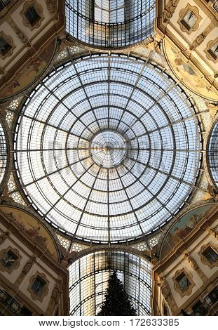 Inside The Arcade With A Glass Roof And Steel  In Milan Italy