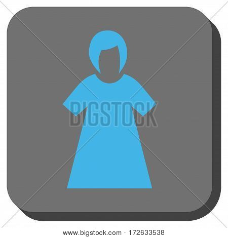 Lady Figure square button. Vector pictograph style is a flat symbol centered in a rounded square button light blue and gray colors.
