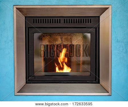 Modern Stove To Decorate And Heat The House With The Fire Burnin