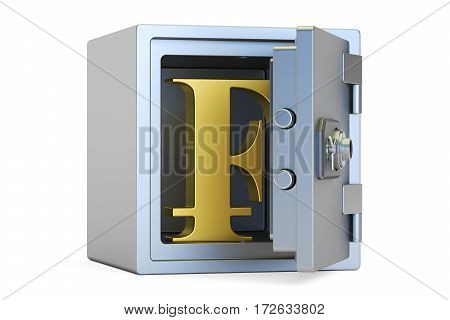 combination safe box with symbol of franc 3D rendering isolated on white background