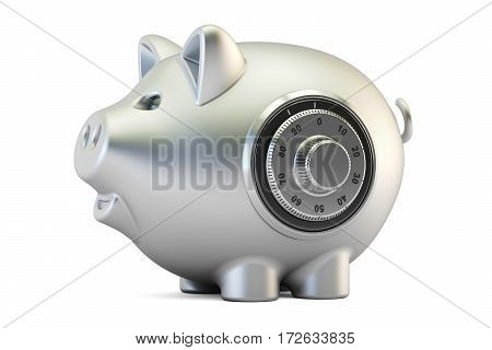 metallic piggy bank with safe combination dial lock 3D rendering isolated on white background