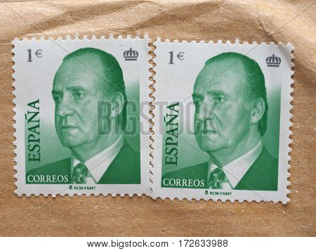 MADRID SPAIN - CIRCA DECEMBER 2016: stamps printed by Spain showing king Juan Carlos I