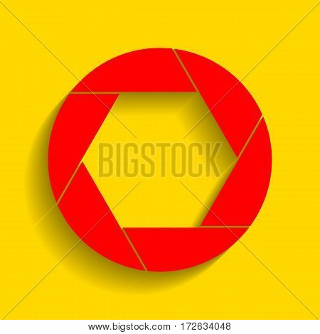 Photo sign illustration. Vector. Red icon with soft shadow on golden background.