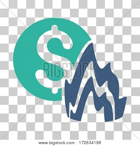 Fire Disaster Price icon. Vector illustration style is flat iconic bicolor symbol cobalt and cyan colors transparent background. Designed for web and software interfaces.