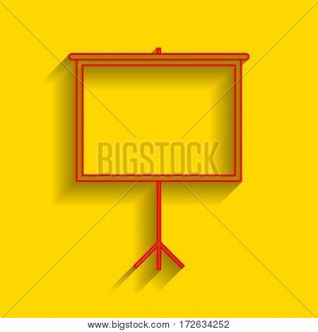 Blank Projection screen. Vector. Red icon with soft shadow on golden background.