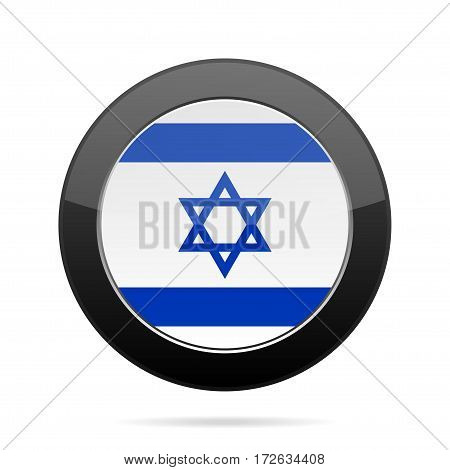 National flag of Israel. Shiny black round button with shadow.