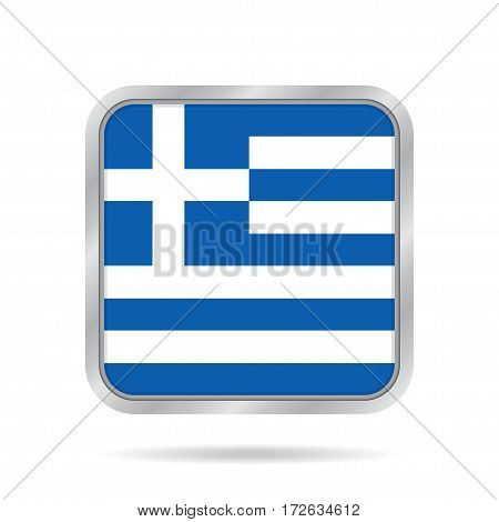 National flag of Greece. Shiny metallic gray square button with shadow.