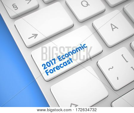 Metallic Keyboard with 2017 Economic Forecast White Key. Business Concept: 2017 Economic Forecast on the Modern Laptop Keyboard lying on the Blue Background. 3D Illustration.