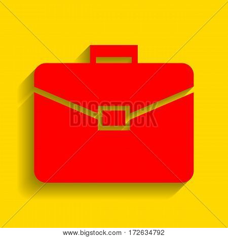 Briefcase sign illustration. Vector. Red icon with soft shadow on golden background.