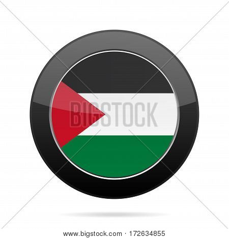 National flag of Palestine. Shiny black round button with shadow.