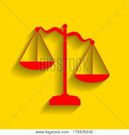Scales of Justice sign. Vector. Red icon with soft shadow on golden background.