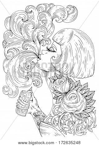 Vector in profile glamorous woman with a haircut bob, let a pair vaping e-cigarette. Girl with a tattoo rose and thorns holding vaporizer/electronic cigarette. Pattern for coloring page A4 size.