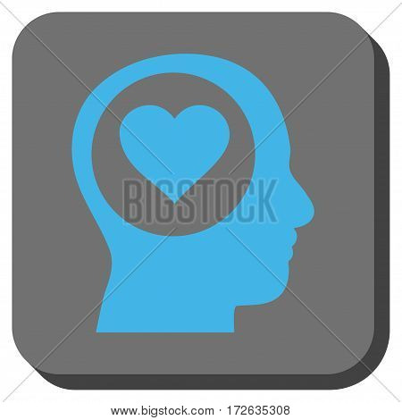 Love Thinking Head toolbar icon. Vector pictograph style is a flat symbol on a rounded square button light blue and gray colors.