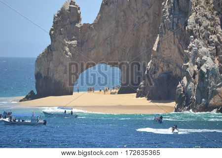The Cabo arch during low tide. Located on the tip of the Baja California Peninsula in Mexico