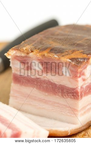 Sliced Raw Pork Meaty Bacon On The Wooden Board With Copy Space