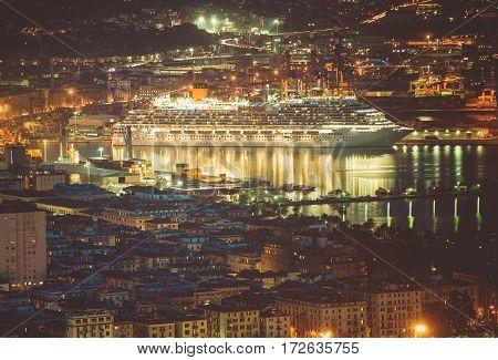 Cruise Ship in Port of La Spezia. Gulf of La Spezia. Liguria Region of Italy. Mediterranean Sea Cruises.