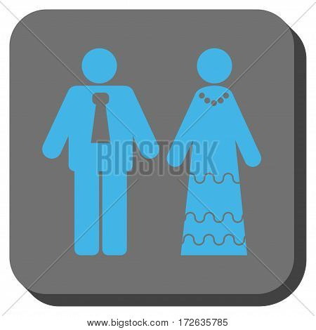 Newlyweds rounded button. Vector pictograph style is a flat symbol in a rounded square button light blue and gray colors.