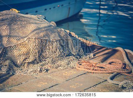Fishing Nets in the Marina Closeup Photo. Fishing Industry.