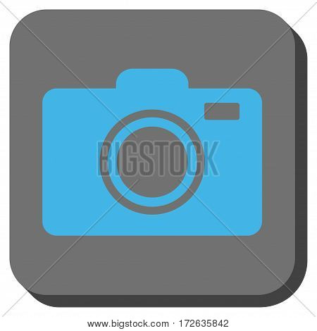 Photo Camera interface toolbar button. Vector pictograph style is a flat symbol inside a rounded square button light blue and gray colors.