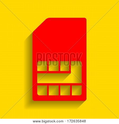 Sim card sign. Vector. Red icon with soft shadow on golden background.