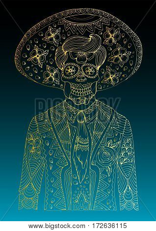 Vector hand drawn line man with sugar skull calavera makeup with patterned sombrero on his head. Mexican holiday Day of the Dead. Halloween costume party, page A4 size. Isolated on a green background