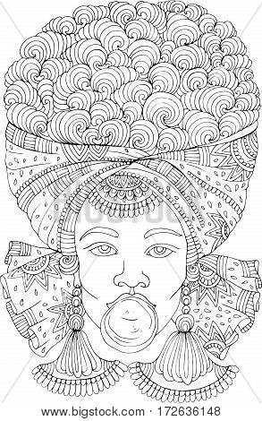 Vector hand drawn  portrait of a young African girl with magnificent curly afro hairstyle inflates bubble gum. Coloring page A4 size for coloring book.