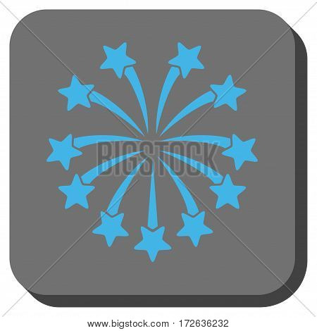 Spherical Fireworks interface toolbar icon. Vector pictograph style is a flat symbol centered in a rounded square button light blue and gray colors.
