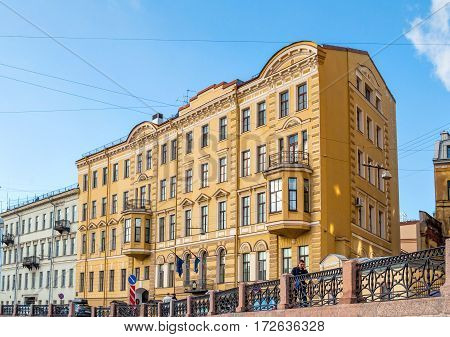 SAINT PETERSBURG RUSSIA -OCTOBER 3 2016. Consulate General of the Kingdom of the Netherlands in Saint Petersburg - building at Moika river embankment. Architecture city view of Saint Petersburg Russia
