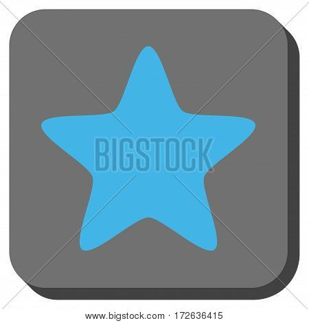 Star rounded icon. Vector pictogram style is a flat symbol inside a rounded square button light blue and gray colors.